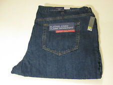 48 X 32 CROFT & BARROW FLANNEL LINED 5 POCKET JEANS - MEDIUM DENIM BLUE- NWT