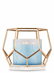 Bath and Body Works Gold Hexagon Geometric Marble Base 3 Wick Candle Holder