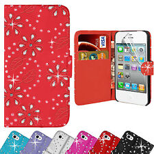 Bling Diamante Leather Diamond Wallet Case Cover For Apple iPhone 4 4S ID Pocket
