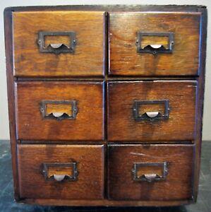 "Antique 6 Drawer  Oak Library Index 4"" x 5"" Card Catalog File Cabinet"