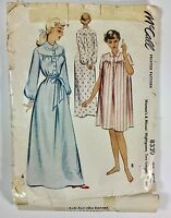 Vintage 50s McCALL Sewing Pattern 8339 Nightgown Night Gown Short Long Robe