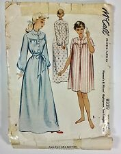 Vintage 1950s McCALL Sewing Pattern 8339 Nightgown Gown  Short Long Size Small
