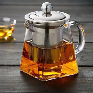 With Infuser Glass Teapot Loose Leaf Tea Heat-resistant Stovetop Stainless Steel
