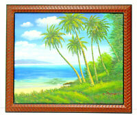 Tropical Beach Palm Trees  20 x 24 Oil Painting on Canvas w/ Custom Wooden Frame