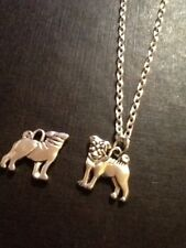 Pug necklace silver plated 18 inch chain
