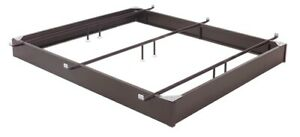"King Pedestal Bed Base 7-1/2"" Brown Steel Frame and Center Cross Tube Support"
