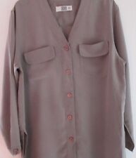 """Pure Silk """"Coffee and Cream""""  Blouse/light jacket from IQ faun size 42"""""""