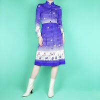 VINTAGE 70s 80s Pattern Knee Midi Blue White Pleat Mod Stripe Retro Dress XS 6 8