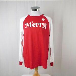 Family PJs Men's Merry Printed Christmas Pajama Top - Red, Medium #7695