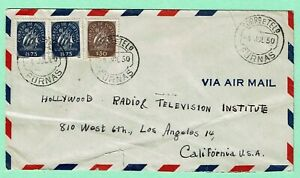PORTUGAL AZORES 1950 Air Mail Cover FURNAS > Los Angeles CA Proper 3$80 Rate