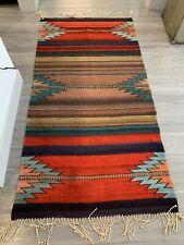 southwestern aztec dyed floor accent rug Multicolor Boho 74 x 35