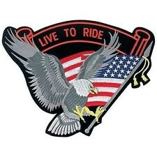 14 Embroidered LIVE TO RIDE Motorcycle Biker Back Patch Eagle American Flag