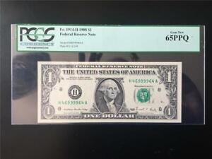 FANCY QUAD 9 RADAR SN# PCGS GEM65PPQ 1988 $1 ST. LU FRN <<< H 46 9999 64 A