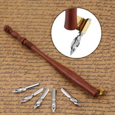 Wooden Oblique English Calligraphy Copperplate Script Dip Pen Nib Holder+5 Nib