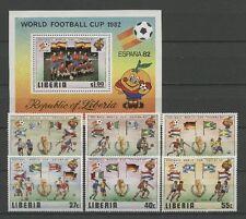 Fútbol-WM 1982, soccer-liberia - 1187-1192, bl.96 ** mnh