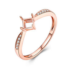 Solid 10k Rose Gold Jewelry Princess 3.5x3.5mm Natural Diamonds Semi Mount Ring