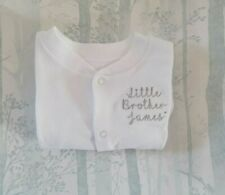 Personalised Little Sister Little Brother Sleepsuit Babygrow with Name
