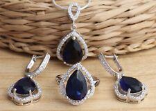 925 Sterling Silver Stylish Set Pear Cut CZ  Earrings Pendant Ring Size K