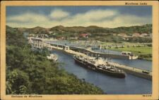 Panama Canal Miraflores Locks Ship Used Nice stamps Cover Linen Postcard
