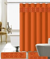 15 Piece Charlton Embroidery Banded Shower Curtain Bath Set (Orange)