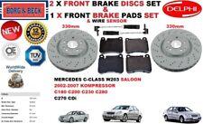 FOR MERCEDES Saloon C180 C200 C230 C280 C270 FRONT BRAKE DISCS & PADS & SENSORS