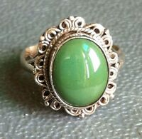 Sterling Silver Traditional Asian Vintage Style Turquoise Stone Ring Size M Gift