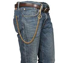Retro Solid Brass Chain Biker Trucker Keychain KeyRing Wallet Chain U Hook