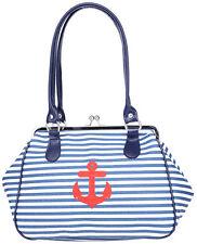 Küstenluder ALONA Sailor ANCHOR Streifen Kisslock Vintage TASCHE Rockabilly