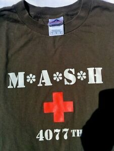 M*A*S*H Licensed T SHIRT LARGE Olive USA Army Hospital TV Show Retro Vintage