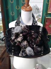 Nicole Lee Black Fur Barrel Bag