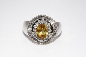 3.50CT NATURAL CITRINE & TOPAZ CLUSTER COCKTAIL SILVER RING SIZE 10.25