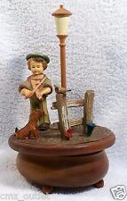 "ANRI Swiss Thoren's Wooden Rotating Music Box Plays ARRIVEDERCI ROMA  10.5"" Tall"