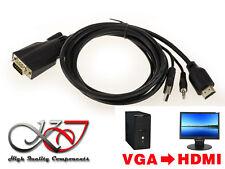 Cordon Convertisseur VGA VERS HDMI - HAUTE RESOLUTION - PC VGA / ECRAN HDMI