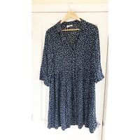HUSH Dress Sz 12 Shirt Black Blue White Floral Ditsy