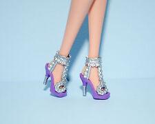 Purple Open Toe High Heels w/ Silver Tuxedo Accents Genuine BARBIE Fashion Shoes