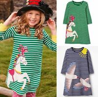 EX-BODEN GIRLS JERSEY BIG APPLIQUE GREEN HORSE NAVY SEAGULLS DRESS  BNWOT 2-12