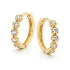 9ct 10mm CZ Set Fancy Huggie Earrings
