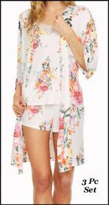 NWT Flora Nikrooz CARLA  3 Pc Camisole Shorts & Robe Floral Sleep Set  M