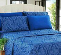 Deep Pocket Bed Sheet 6 Piece Set 1800 Series Egyptian Comfort Paisley Sheet Set