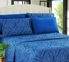 Deep Pocket Bed Sheet 6 Piece Set 1800 Series Egyptian Comfort Paisley Sheet Set