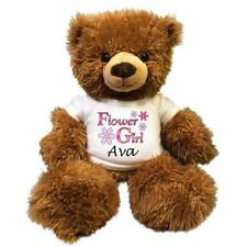 "Flower Girl Teddy Bear - Personalized 14"" Brown Tummy Bear"