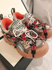 NEW 100% Authentic Gucci Flashtrek Removable Crystal Leather Sneakers 38 (US8)
