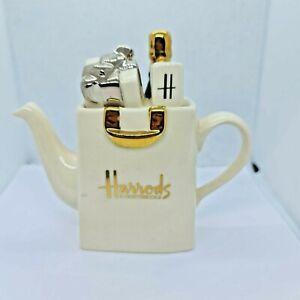 Harrods Miniature Cream Shopping Bag Tea Pot Tony Carter