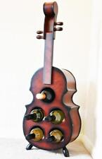 Violin Wooden Wine Rack Bottle Holder Elegant Display Storage Stand, 5 Bottles