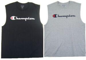 Champion Mens Script & Logo Muscle T-Shirt NWT Size L  XL or 2XL   Black or Gray