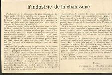 54 INDUSTRIE DE LA CHAUSSURE ARTICLE DE PRESSE PAR PICARD 1923