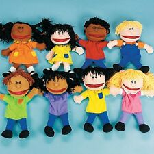 "8 Multicultural Children 14"" Plush Hand PUPPETS Kids Ethnics Happy People"