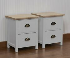 Pair of Grey 2 Drawer Bedside Tables Brass Effect Cup Handles Wooden Top