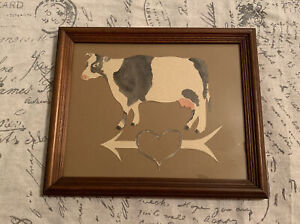 """Vintage Rustic Cow Watercolor Painted Wall Decor Framed 11.5"""" X 9.5"""" Holstein"""