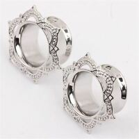 1 Pair Flower Stainless steel Ear Plugs Screw Fit Gauges Flesh Tunnels Earrings